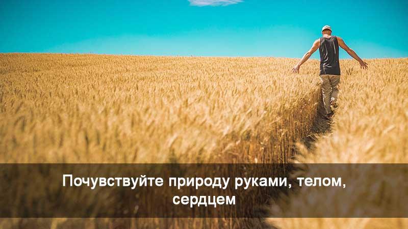 Мужчина ходит по траве